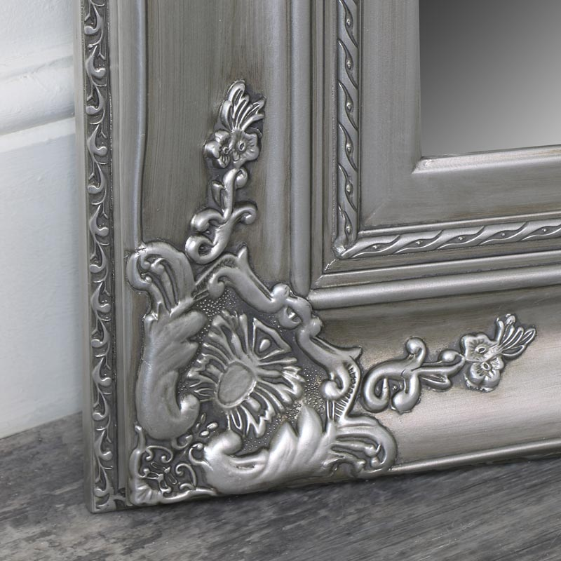 Extra Large Ornate Silver Wall / Floor / Leaner Full Length Mirror 100cm x 200cm