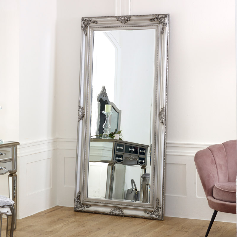 Extra Large Ornate Silver Wall Floor Mirror Melody Maison
