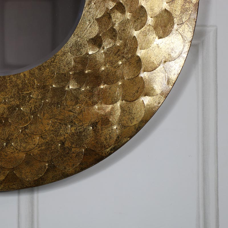 Extra Large Round Glamorous Gold Scale Mirror 81cm x 81cm