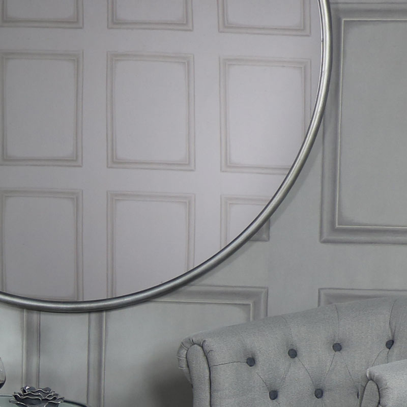 Extra large round silver wall mirror 120cm x 120cm for Extra large round mirror