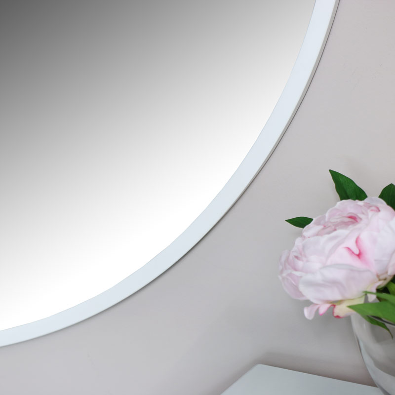 Extra Large Round White Wall Mirror 120cm x 120cm