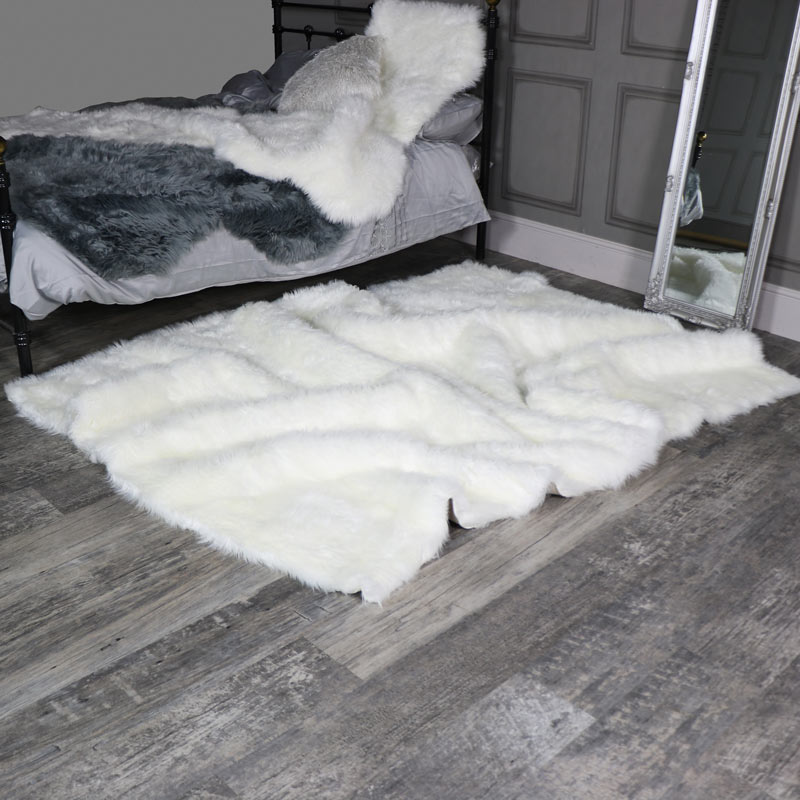 Extra Large White Faux Fur Rug 160cm x 230cm