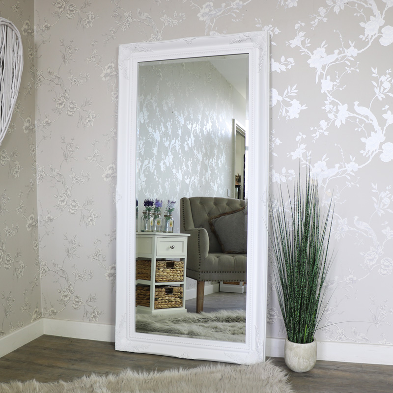 Extra large white ornate wall floor mirror 158cm x 78cm for White mirror