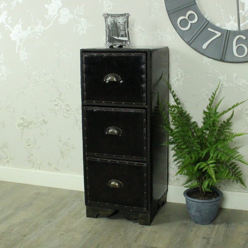Faux Leather 3 Drawer Chest of Drawers