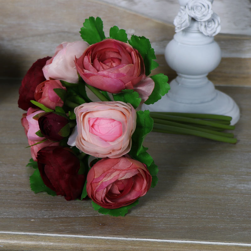 Artificial Pink and Red Camellia Posy