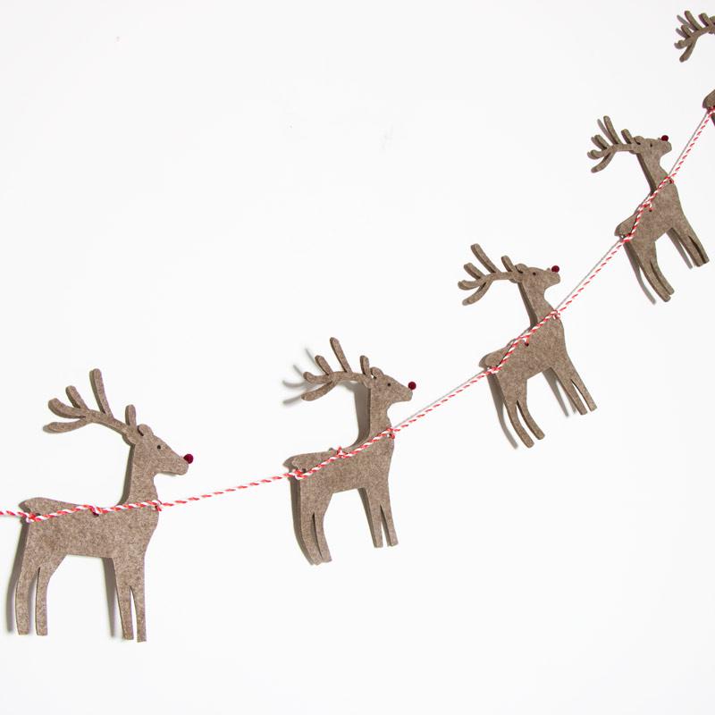Felt Reindeer & Sleigh Christmas Garland