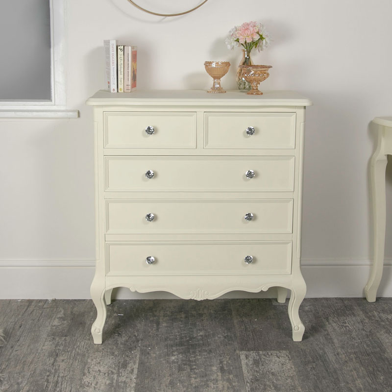 the latest d1c9c ec175 Five Drawer Chest of Drawers - Elise Cream Range