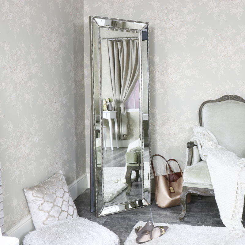 Floor Standing Bevelled Pewter Cheval Mirror