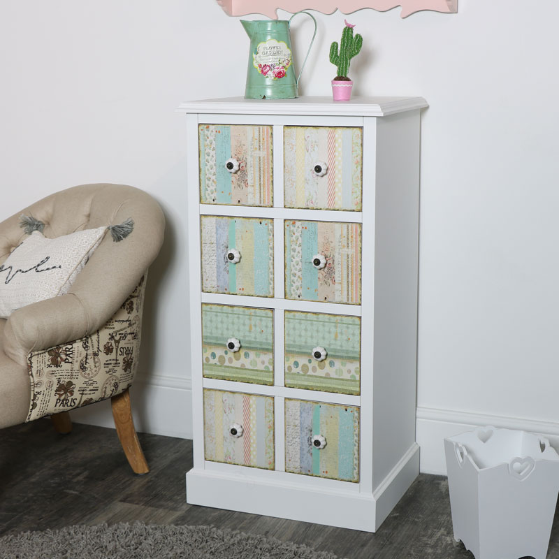 Floral 8 Drawer Tallboy Chest of Drawers