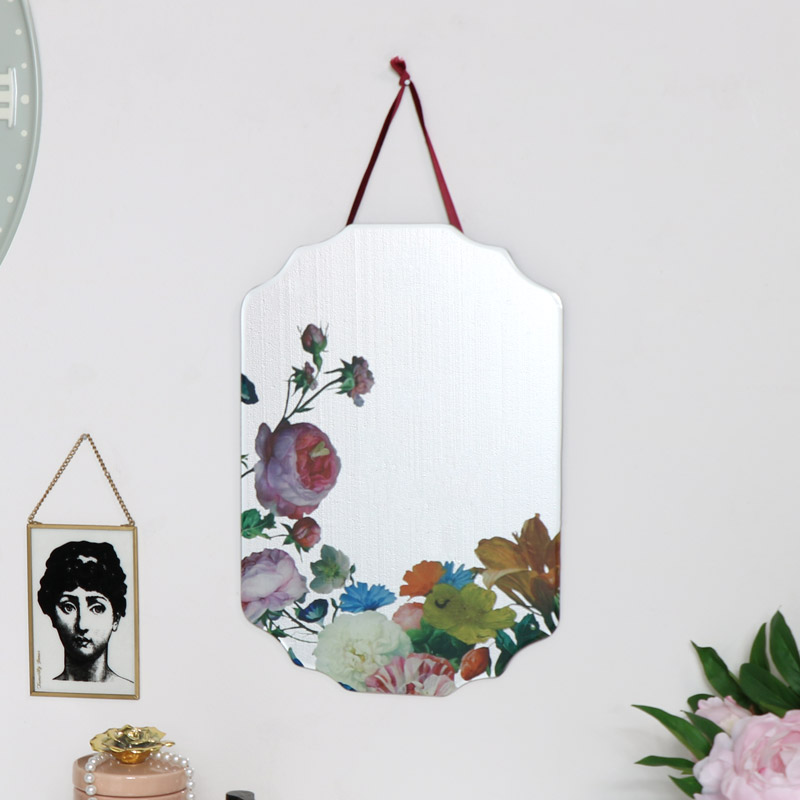 Flower Printed Frameless Wall Mirror