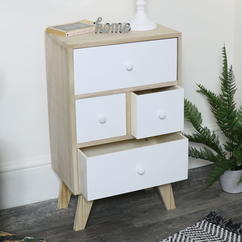 Four Drawer Wooden Storage Unit