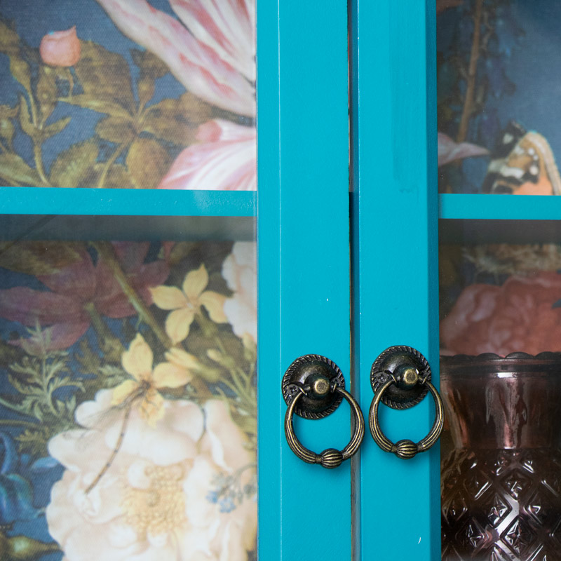 Freestanding Blue Painted Display Cabinet