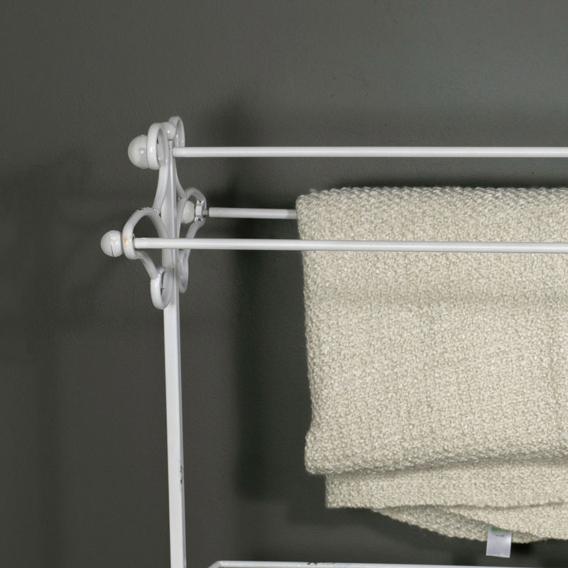 Freestanding Metal Towel Rail with Basket Storage