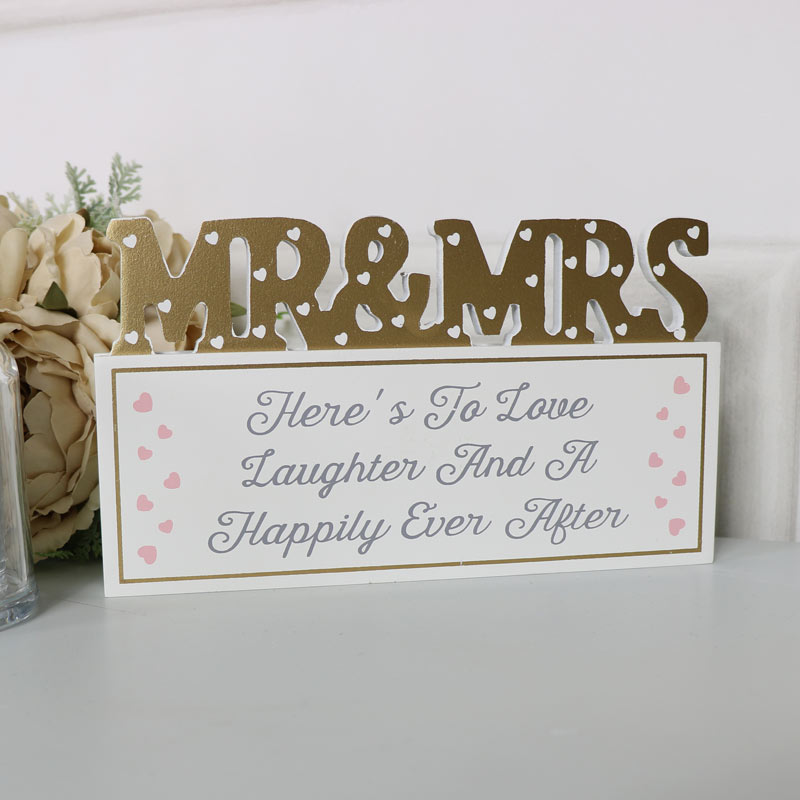 "Freestanding Plaque Mr & Mrs ""Here's To Love...."""