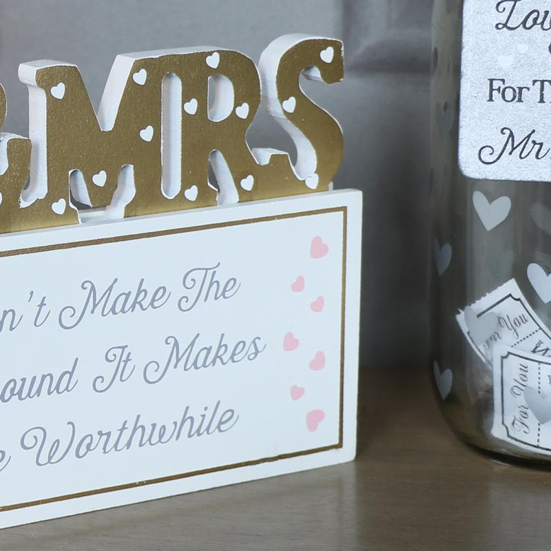 "Freestanding Plaque Mr & Mrs ""Love...."""