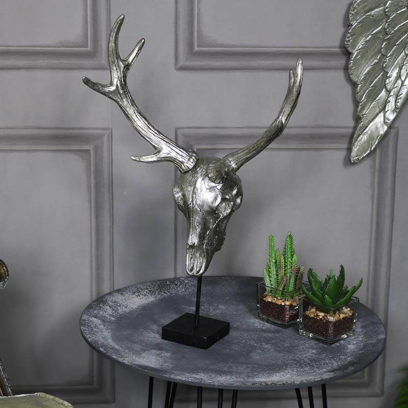 Freestanding Silver Skull Stag Ornament