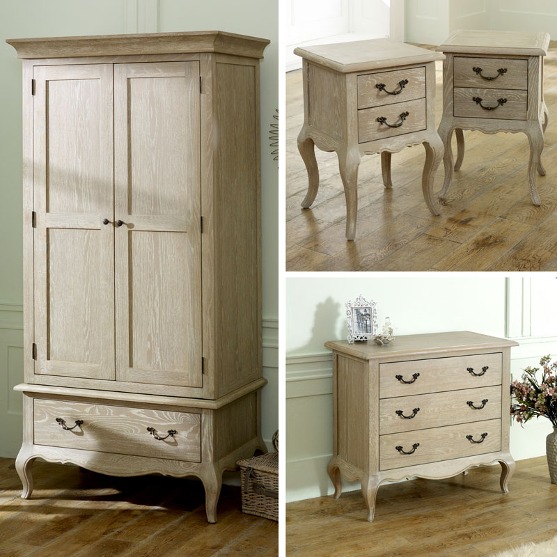 French Bedroom Furniture, Wardrobe, Chest of Drawers, Pair of Bedside  Tables - Brigitte Range