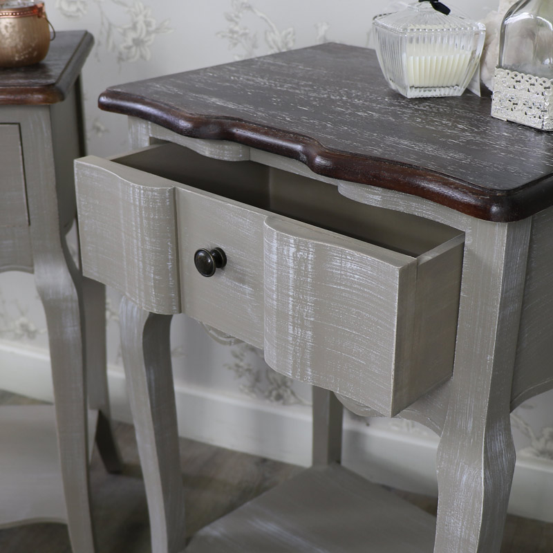 Furniture Bundle Pair Grey Bedside Lamp Tables Shabby