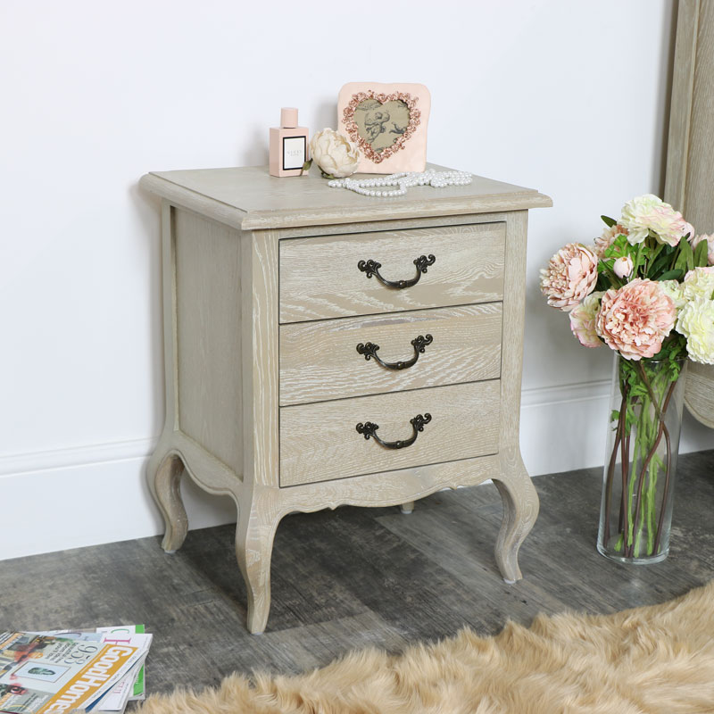 French Style 3 Drawer Bedside Table - Brigitte Range
