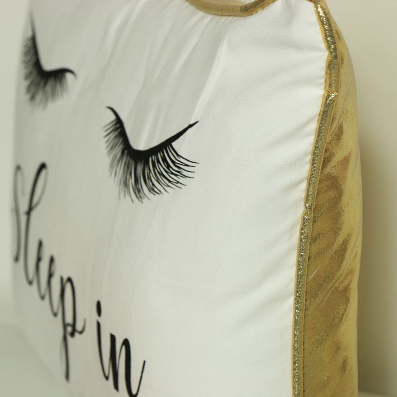 Glam White & Gold Eyelash Scatter Cushion