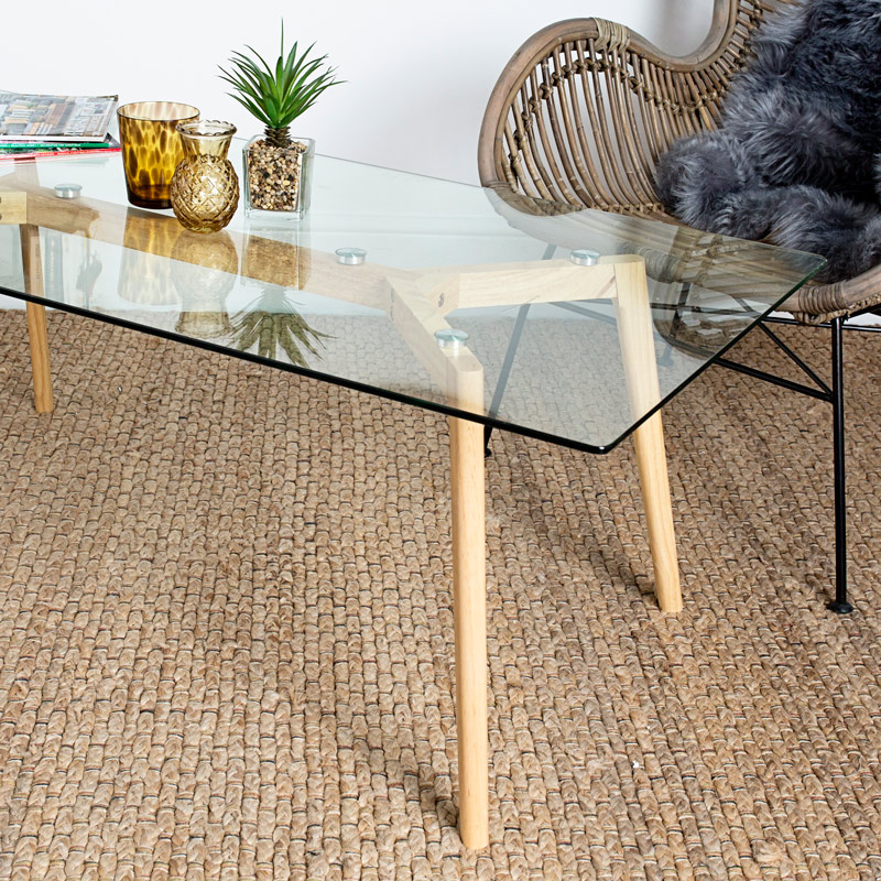 Clear Glass Coffee Table with Oak Legs
