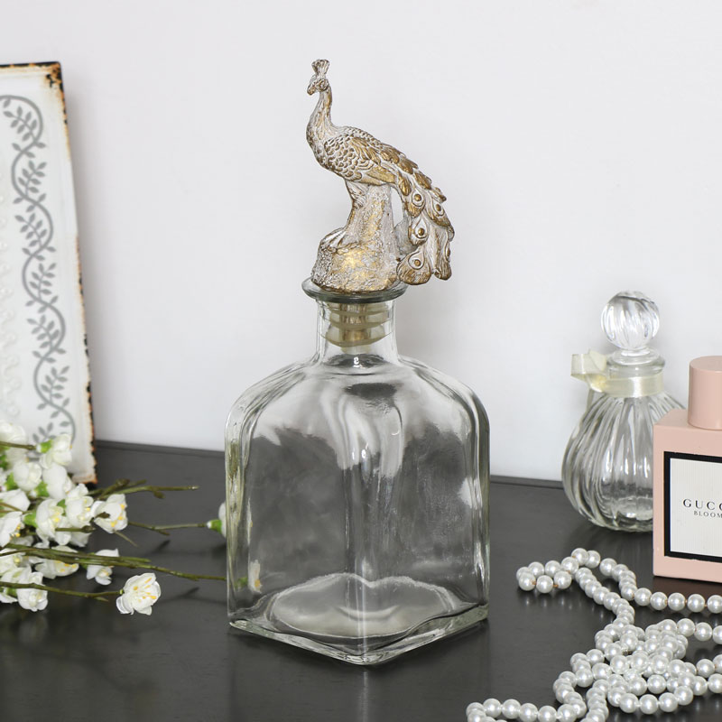 Glass Perfume Bottle with Peacock Stopper