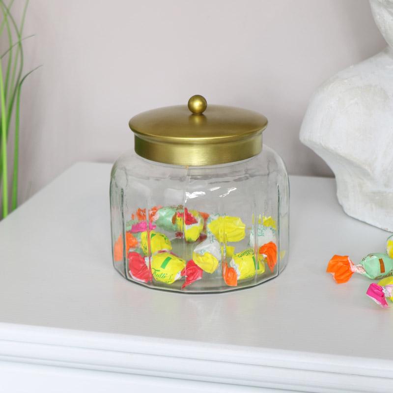 Glass Sweet Jar with Bronze Lid