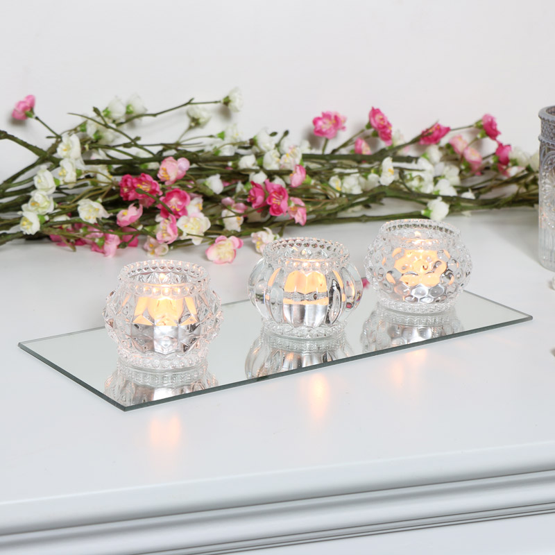 Glass Tealight Holders with Mirrored Tray