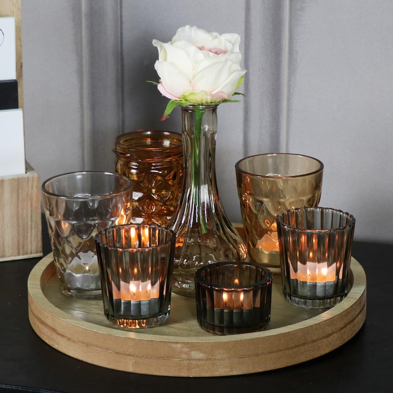 Glass vase tealight holders on wooden tray melody maison