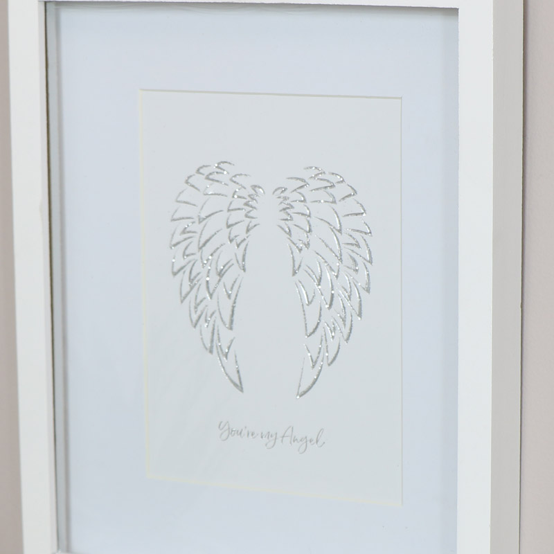 Glitter Angel Wing Wall Art Plaque
