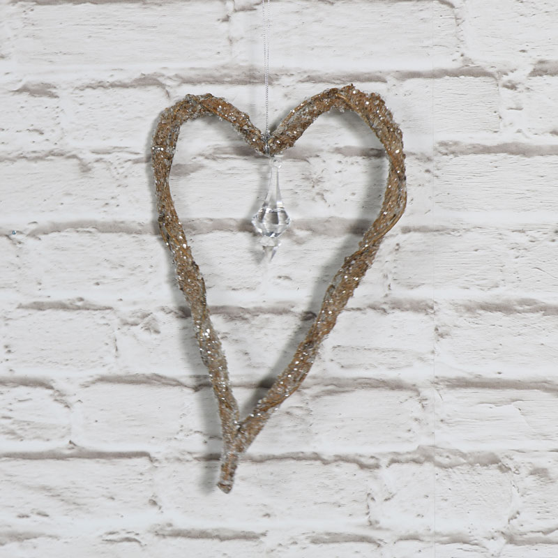 Glittery Hanging Heart Pendant Decoration