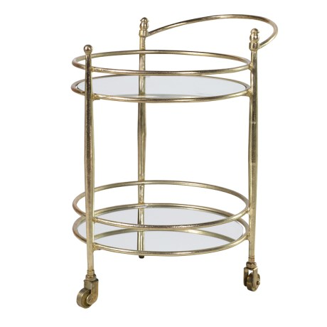 Gold 2 Tier Round Mirrored Hostess Serving Trolley