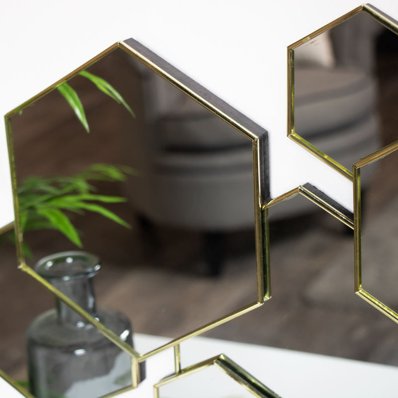 Gold Art Deco Wall Mounted Mirror