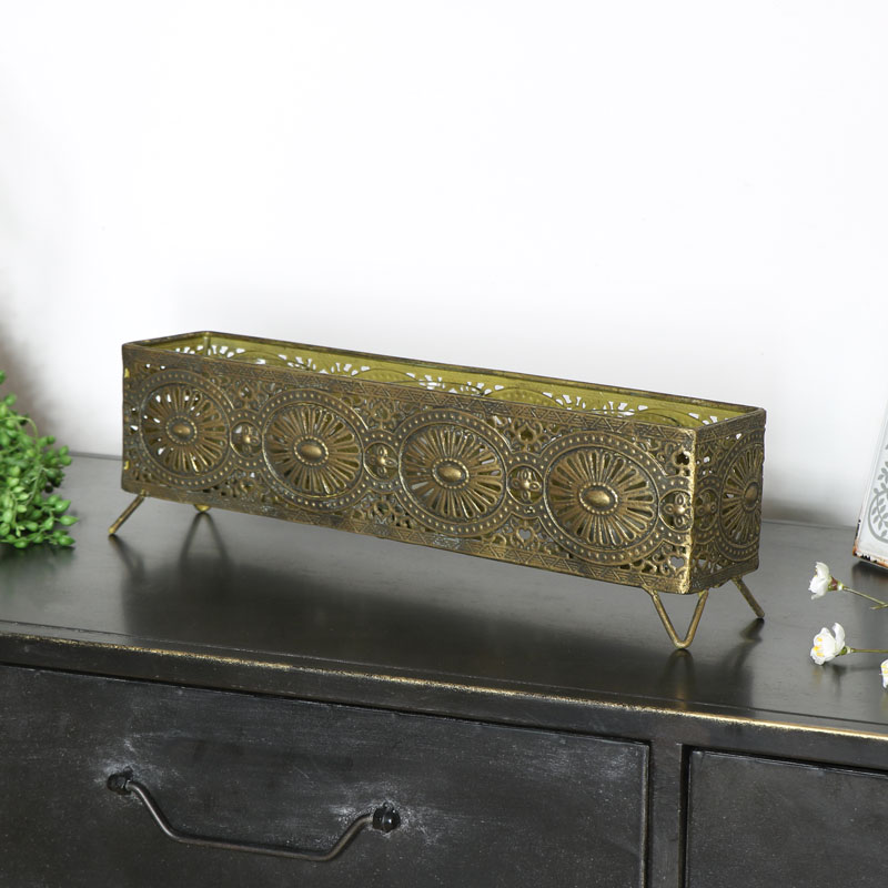 Gold Aztec Candle Storage Box