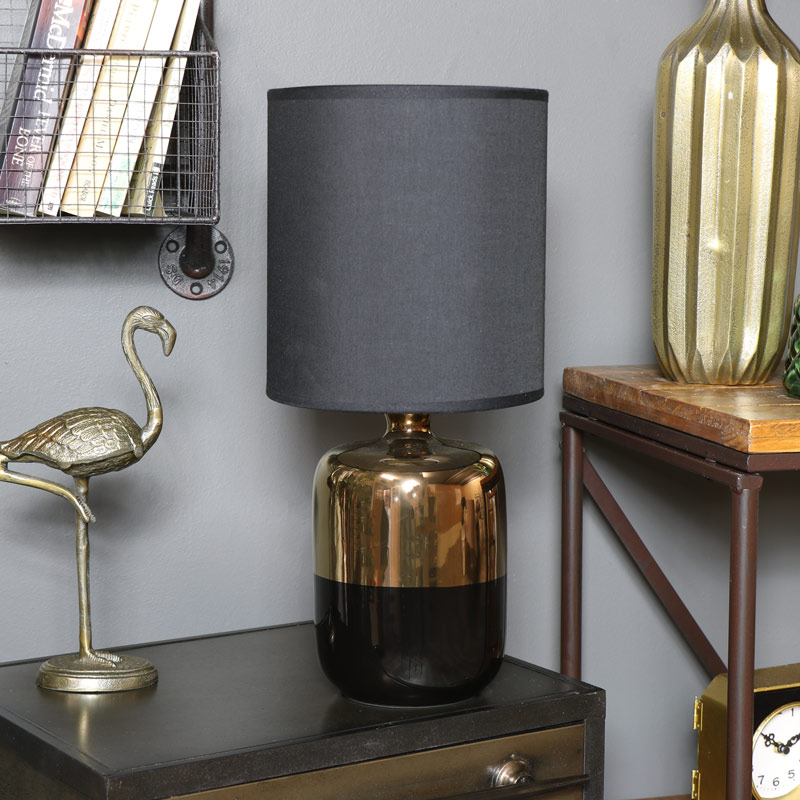 Gold U0026 Black Ceramic Bedside Table Lamp With Black Shade ...