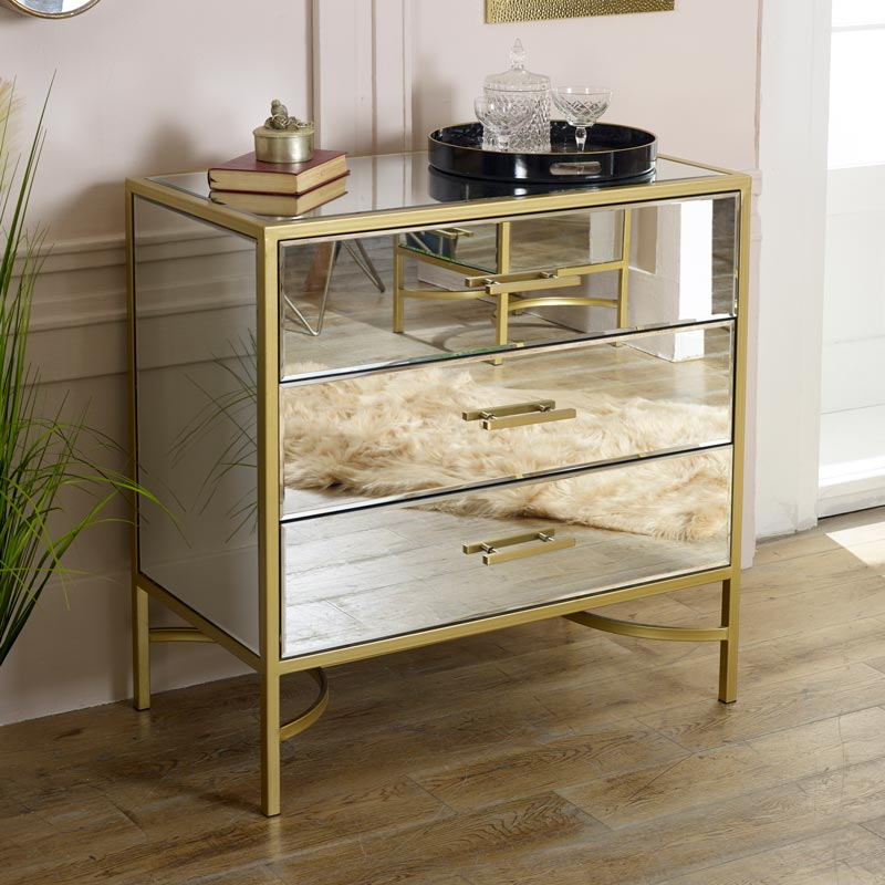 Gold Mirrored Chest of Drawers - Venus Range