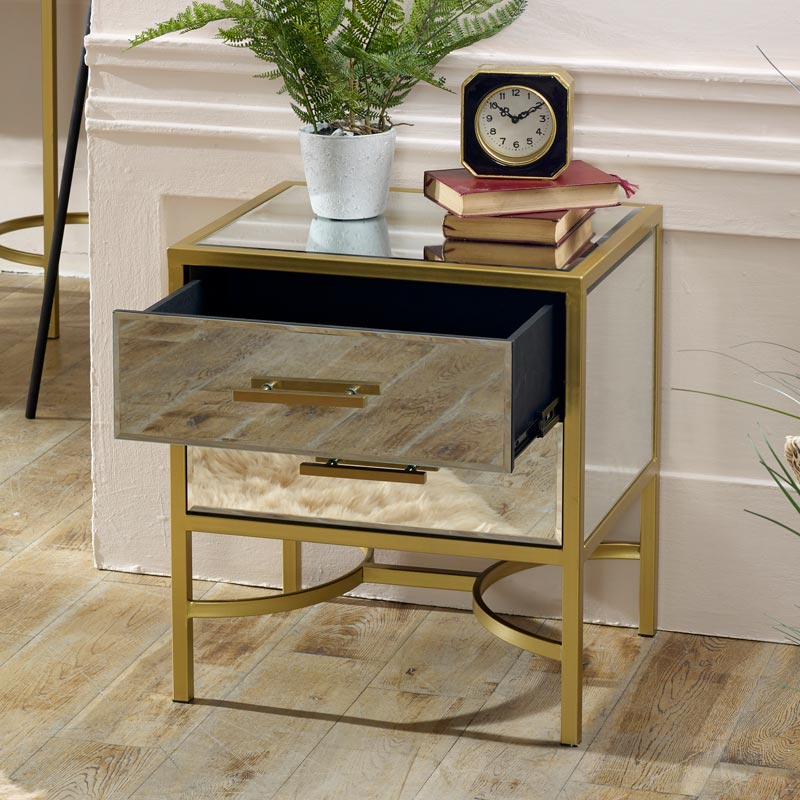 Gold Mirrored Bedside / Occasional Table - Venus Range