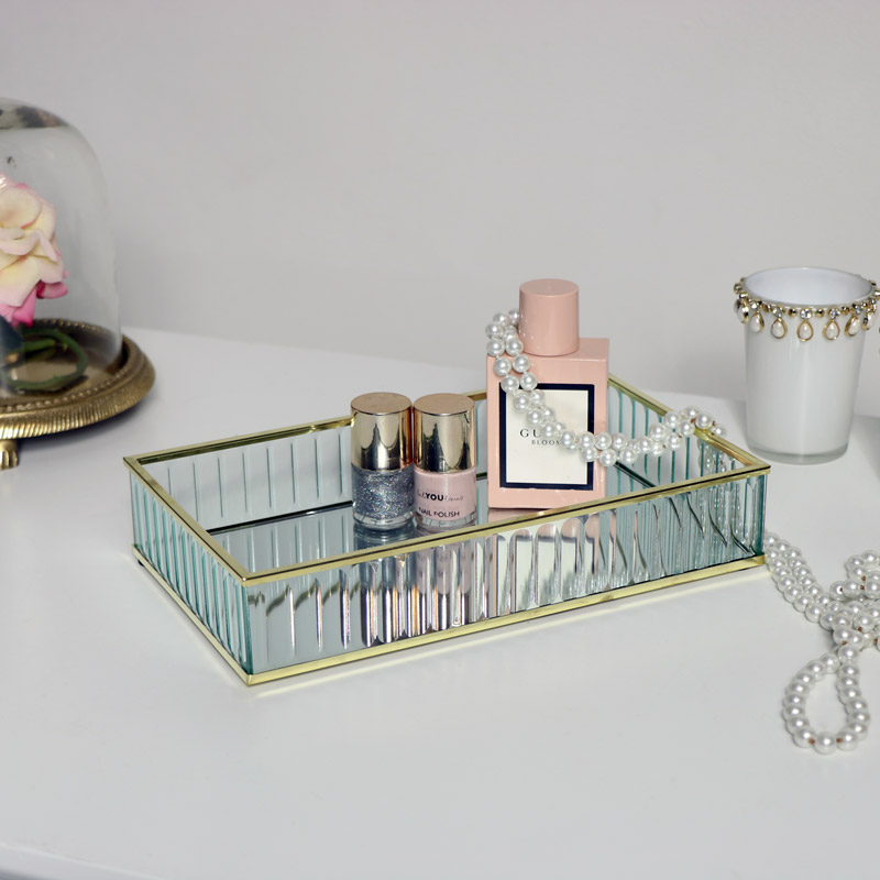 Gold Glass Mirrored Trinket Tray Melody Maison