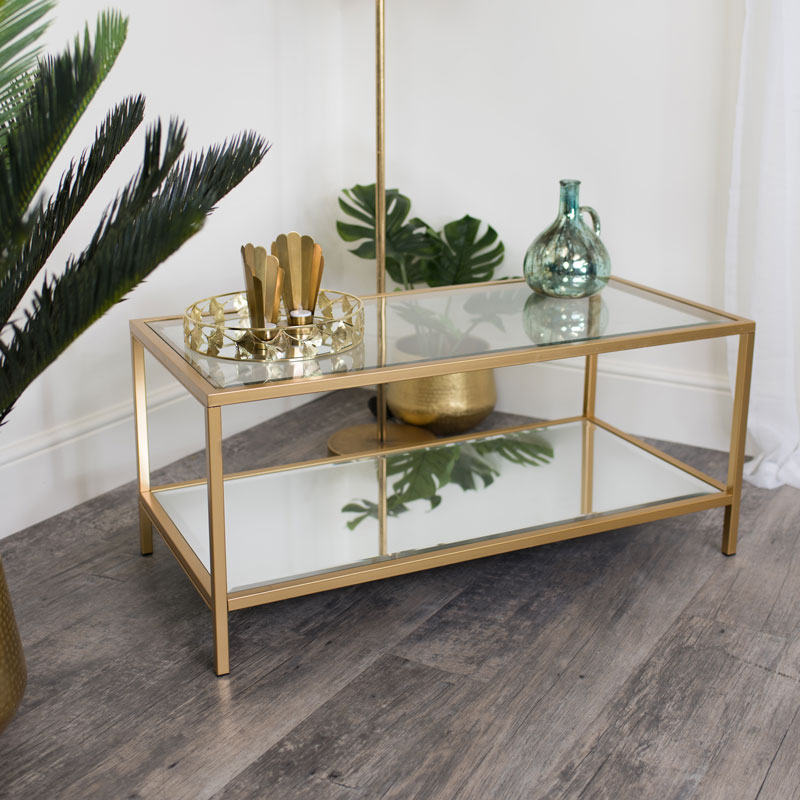 Gold Glass Mirrored Coffee Table