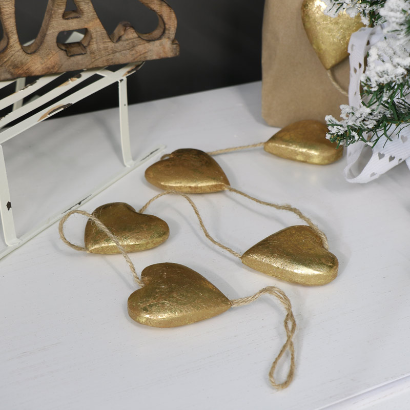 Gold Heart Hanging Garland