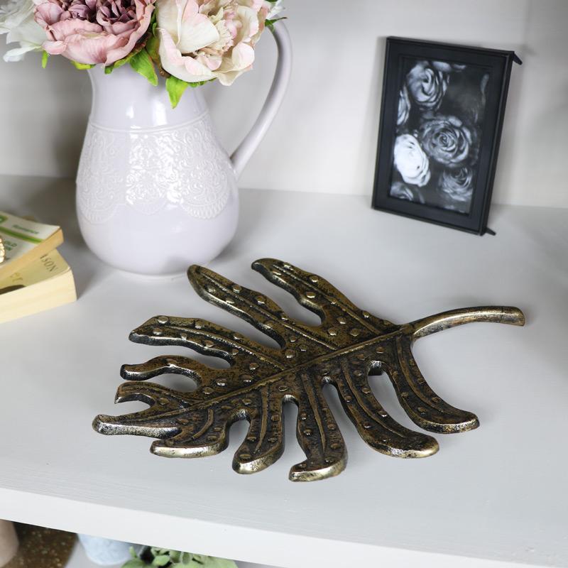 Gold Metal Leaf Wall Art / Trinket Tray