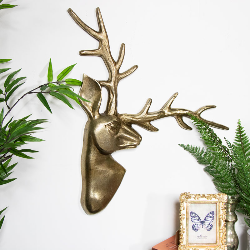 Gold Metal Stag Wall Art