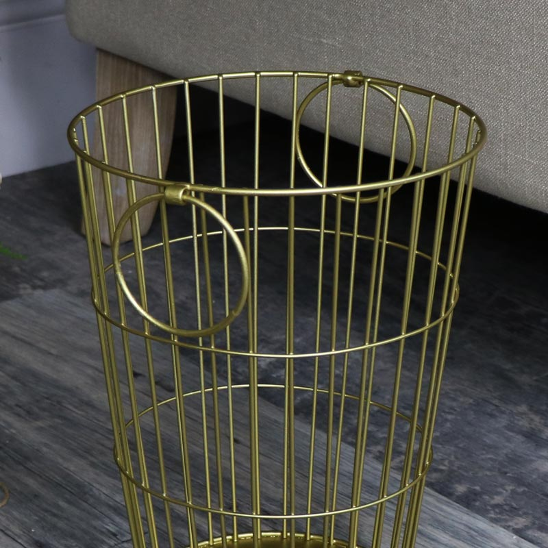 Gold Metal Waste Paper Basket bin