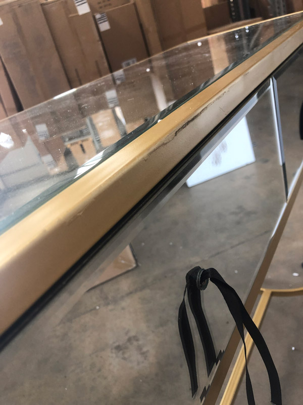 Gold Mirrored Console Hall Table - Venus Range DAMAGED SECONDS ITEM 3006