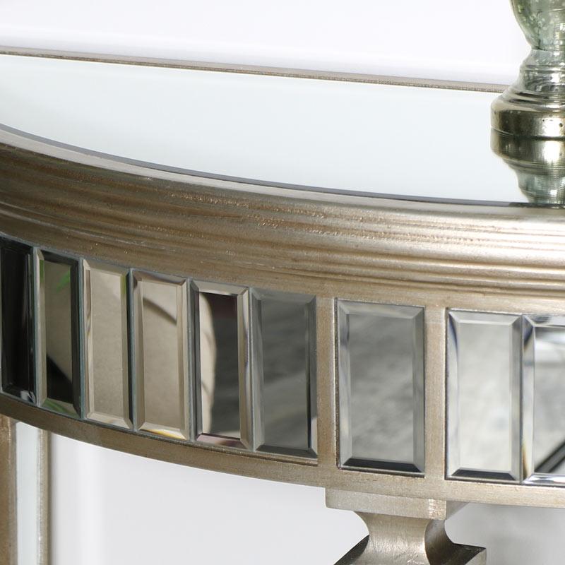 Gold Mirrored Half Moon Console Table - Deco Range