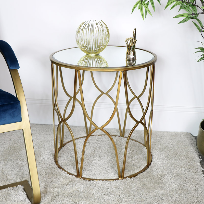 Gold Mirrored Side Table, Gold Mirrored Furniture Uk