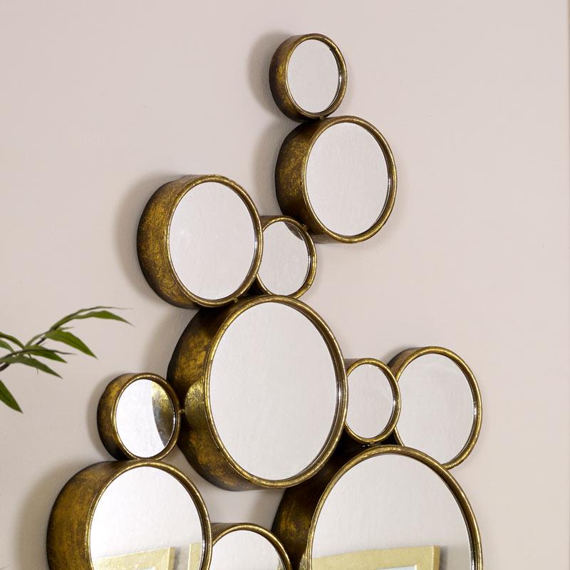 Gold Multi Circle Wall Mirror 61cm x 103cm