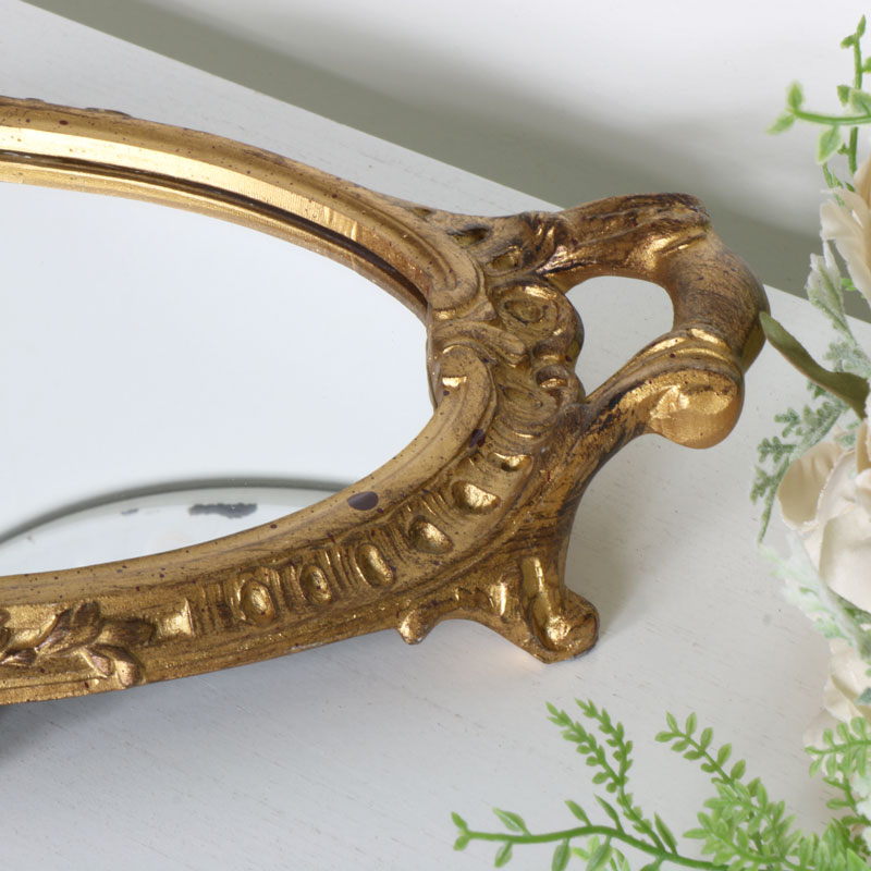 Gold Oval Mirrored Display Tray