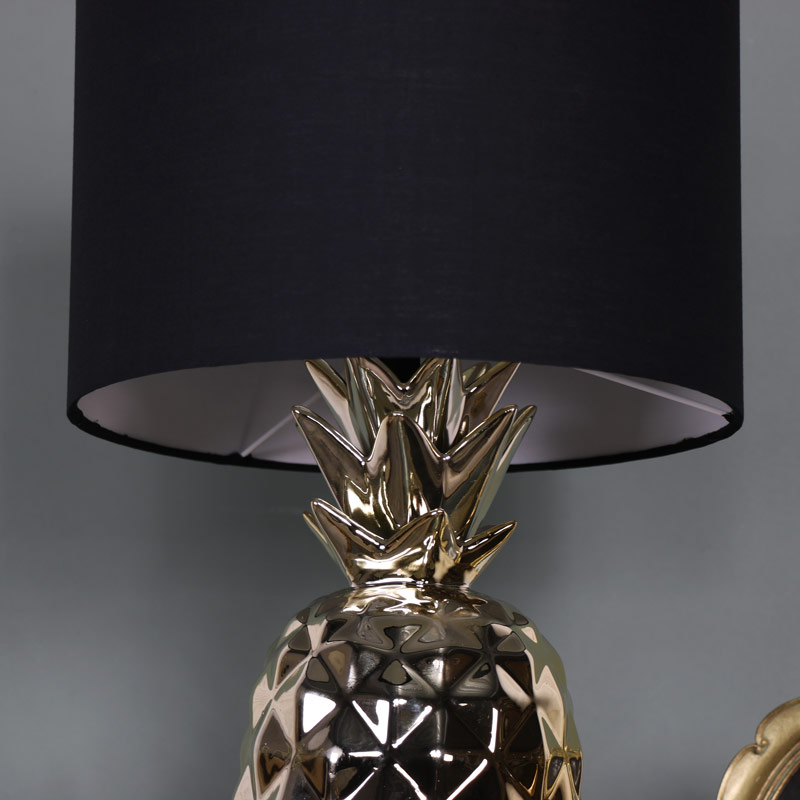 Gold pineapple table lamp with black cotton shade melody maison gold pineapple table lamp with black cotton shade aloadofball Choice Image