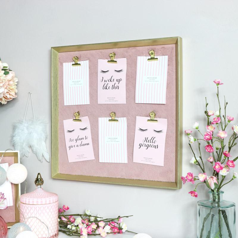 Gold & Pink Furry Memo Board - Large